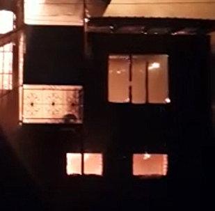 В Ошской области сгорела мечеть — видео с места пожара