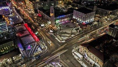 Фотофакт: красота ночного перекрестка в центре Бишкека