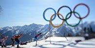 Спортсмены во время прохождения дистанции на зимних олимпийских играх. Архивное фото