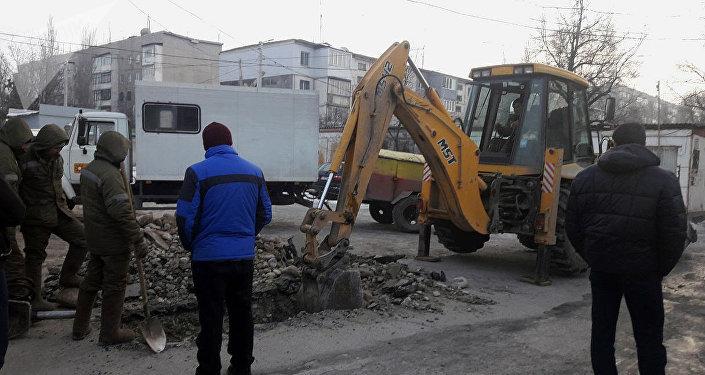 Ремонт электроснабжения в мкр. 5 в Бишкеке