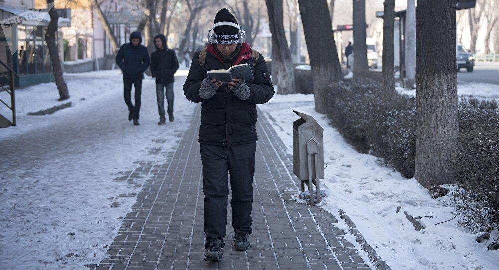 Прохожий на одном из улиц Бишкека. Архивное фото