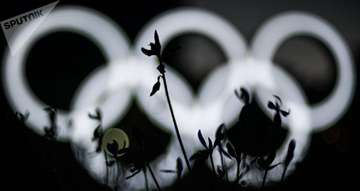 Олимпийские кольца у здания главного пресс-центра в Олимпийском парке в Пхенчхане. Архивное фото