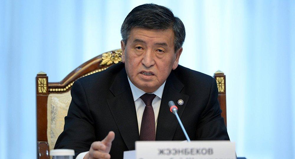 Президент Кыргызской Республики Сооронбай Жээнбеков на заседании Совета безопасности Кыргызской Республики.