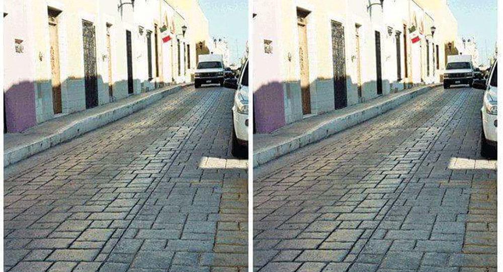 Оптическая иллюзия, которая возникла при публикации двух фотографий одной и той же улицы