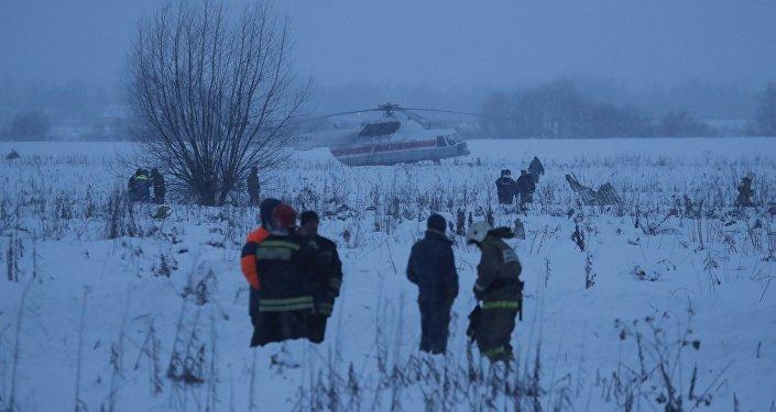 На месте крушения самолета Ан-148 в Московской области. 11 февраля 2018