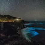 Биолюминесцентный фитопланктон в Биг-Сур, Калифорния