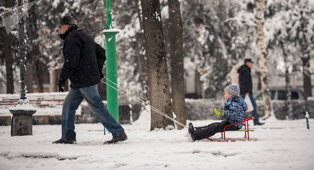 Мужчина тянет ребенка на санках зимой в Бишкеке. Архивное фото