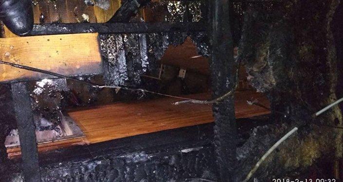 Пожар в коттедже в селе Буланды-Соготту