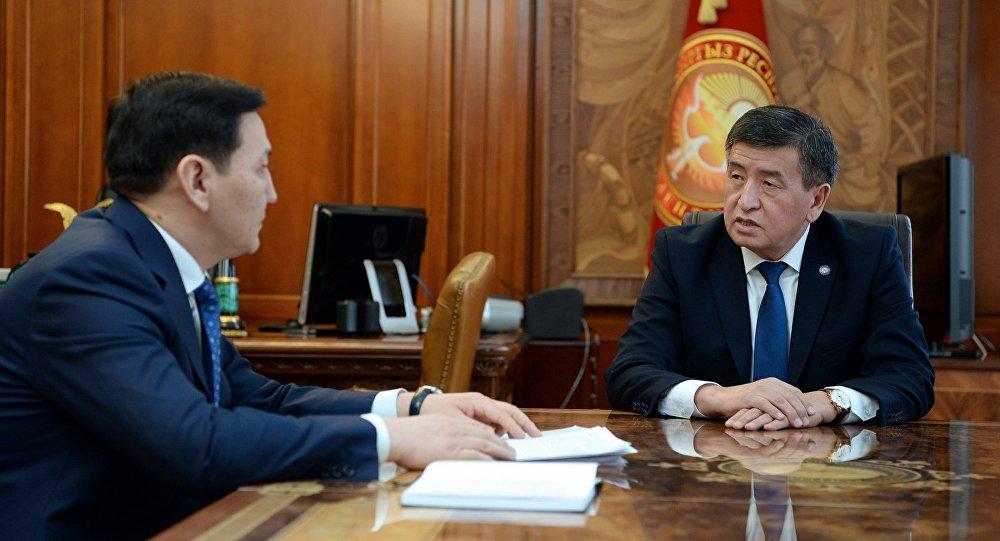 Председатель Государственного комитета национальной безопасности страны Абдиль Сегизбаев на приеме у президента КР Сооронбая Жээнбекова