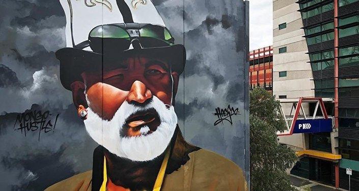 Граффити кыргызского дедушки в ак калпаке В Мельбурне (Австралия)