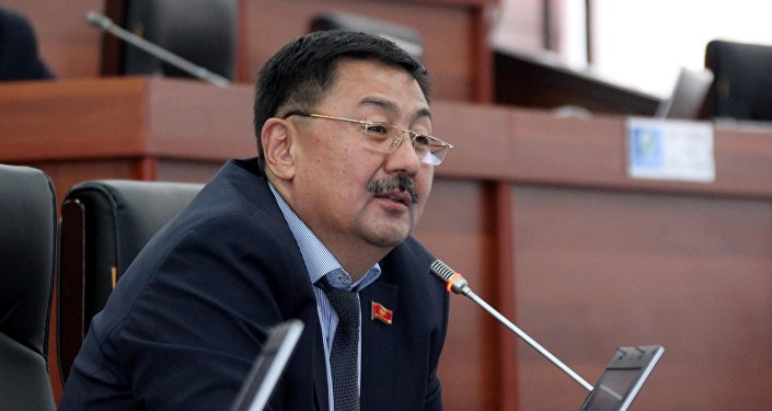 Депутат Жогорку Кенеша от фракции Кыргызстан Алмазбек Токторов во время заседания