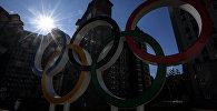 Олимпийские кольца в Олимпийской деревне в Пхенчхане. Архивное фото
