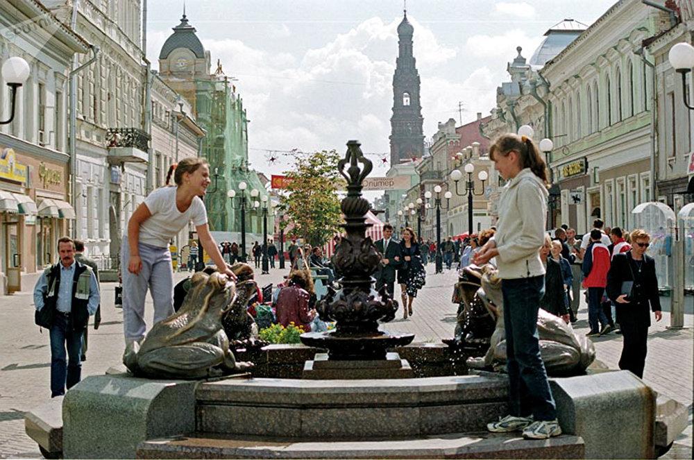 Улица Баумана в историческом центре Казани