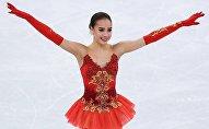 Алина Загитова (Россия) после окончания выступления в произвольной программе женского одиночного катания на соревнованиях по фигурному катанию на XXIII зимних Олимпийских играх.