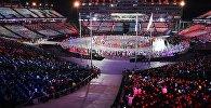 Парад атлетов на церемонии закрытия XXIII зимних Олимпийских игр в Пхенчхане.