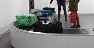 Пассажиры на пункте выдачи багажа в аэропорту. Архивное фото