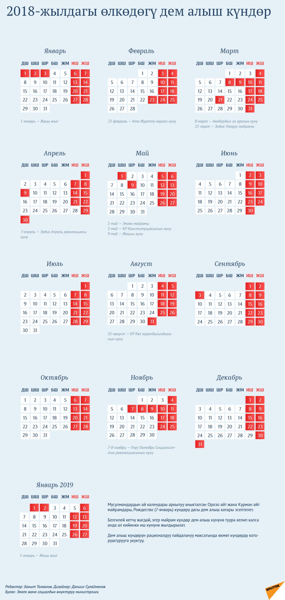 2018-жылдагы өлкөдөгү дем алыш күндөр