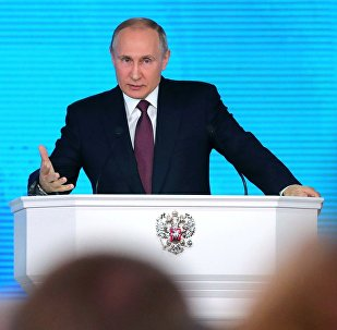 Президент РФ Владимир Путин выступает с ежегодным посланием Федеральному Собранию в ЦВЗ Манеж.