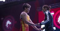 Кыргызстандык балбан Айпери Медет кызы чемпионаттын учурунда. Архив