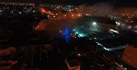 Пожар на Ошском рынке с высоты птичьего полета — видео