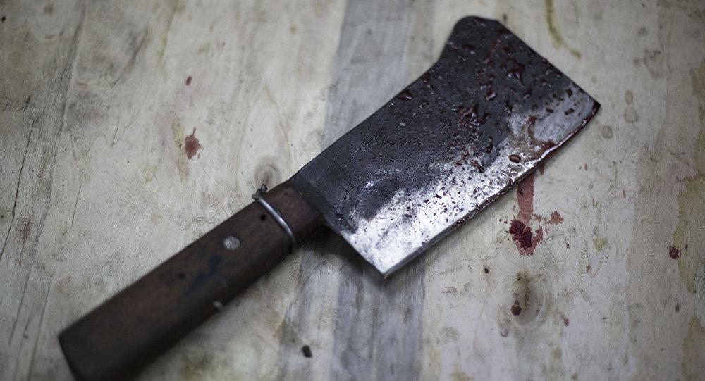 Испачканный кровью тесак для мяса. Архивное фото