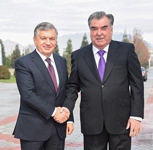 Өзбекстандын президенти Шавкат Мирзиёев жана тажик лидери Эмомали Рахмон