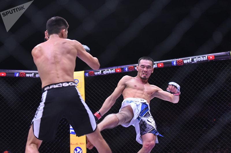 Бой между Ариетом Бекишевым и Мырзамидином Пазыловым (весовая категория до 57 кг) на турнире по смешанным единоборствам WEF Global 11 в Бишкеке