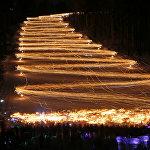 Ежегодный спуск с горы лыжников и сноубордистов  в городе Железногорске
