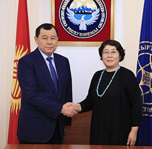 Первый заместитель главы внешнеполитического ведомства Кыргызстана Динара Кемелова встретилась с новым послом Казахстана в Кыргызстане Каримом Кокрекбаевым
