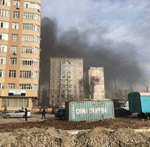 Пожар в строящемся здании в микрорайоне Тунгуч-2