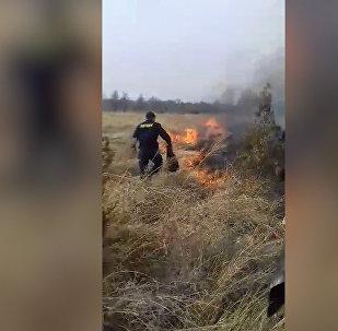 Бишкекте милиционерлер өрттү кол менен өчүрдү. Күбөнүн видеосу