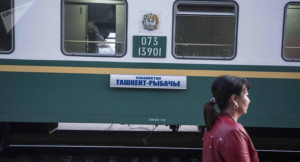В железнодорожный вокзал Бишкека поезд с рейсом Ташкент — Балыкчы. Архивное фото