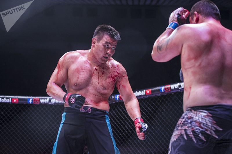 Бой между Тилеком Жээнбековым и Юрием Проценко на турнире по смешанным единоборствам WEF Global 11 в Бишкеке