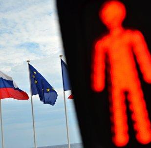 Флаг России и ЕС. Архивное фото