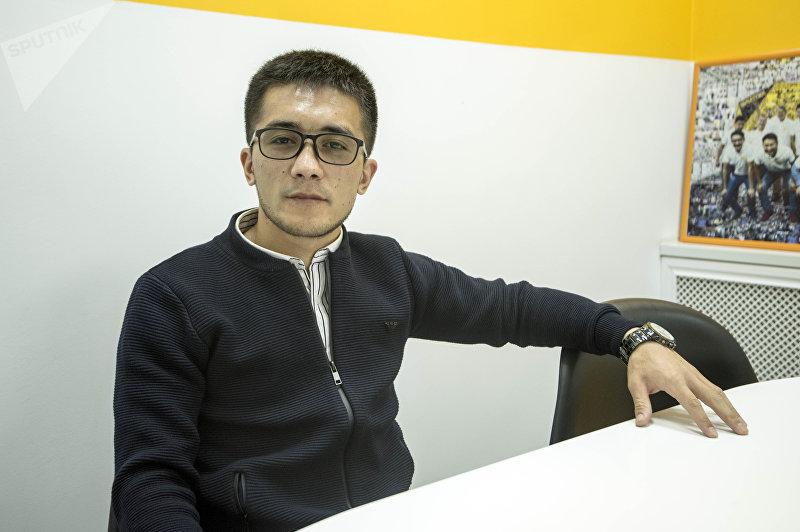Чемпион мира по кикбоксингу, кыргызстанец Улан Касымбеков во время интервью корреспонденту Sputnik Кыргызстан