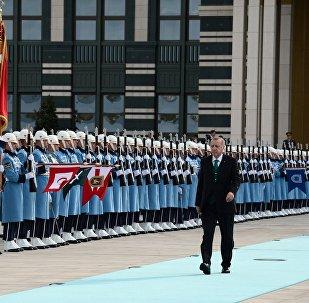 Глава Турции Реджеп Тайип Эрдоган перед встречей с президентом Кыргызстана Сооронбаем Жээнбековым в Анкаре