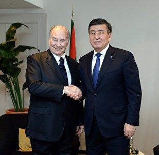 Принц Карим Ага-Хан на встрече с президентом Сооронбаем Жээнбековым в Брюсселе