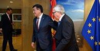 Президент КР Сооронбай Жээнбеков на встрече с председателем Еврокомиссии Жан-Клодом Юнкером в Брюсселе
