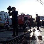 Таңда өрт өчүрүүчүлөр менен кошо журналисттер да жүрдү