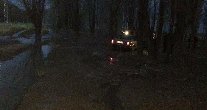 Машина марки Audi C4 сбила двух человек, после чего врезалась в дерево. Один из пешеходов погиб.