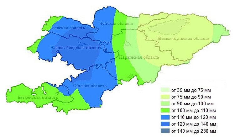 Больше всего осадков ожидается на западе Чуйской области, в Ошской, Джалал-Абадской, Таласской областях