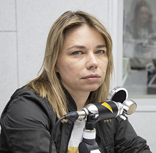 Стилист Наталья Митерева на радиостудии Sputnik Молдова. Архивное фото
