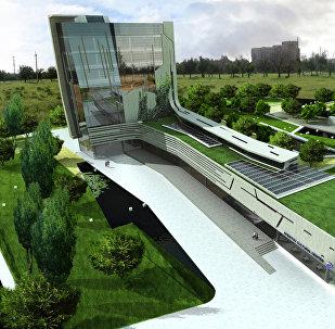 Эскиз планируемого культурного центра имени Чингиза Айтматова в Бишкеке