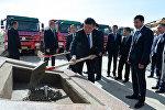 Президент Сооронбай Жээнбеков Ысык-Көлгө болгон иш сапарынын алкагында КРдин ирригация системасын реконструкциялоо долбоорунун тушоосун кести.