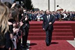 Президент РФ Владимир Путин после инаугурации на Соборной площади Кремля.