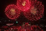 Праздничный салют в Бишкеке с большой высоты — видео с дрона