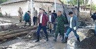 Министр ЧС КР Нурболот Мирзахмедов в Лейлекском районе Баткеской области  где сошли сели