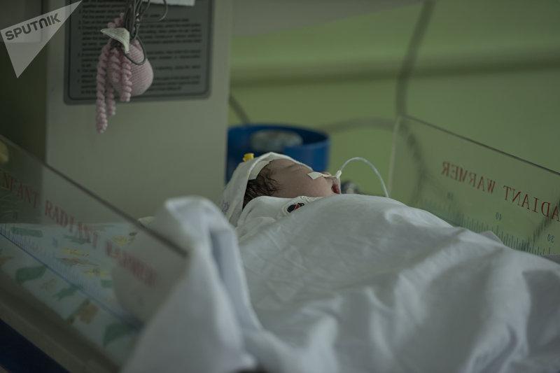 Новорожденный ребенок в отделении патологии новорожденных и недоношенных детей в национальном центре охраны материнства и детства в Бишкеке