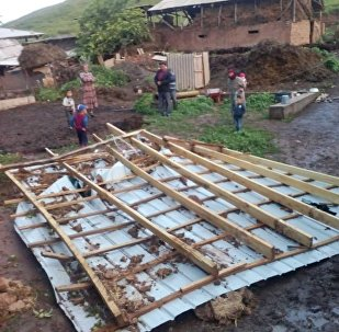 Последствия сильного ветра в селе Жаны-Талаа