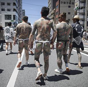 Фестиваль японских татуировок якудза (Сандзя-Мацури) в Токио